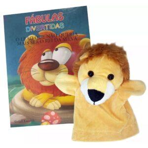 Livro com Fantoche Fábulas Divertidas – O Leão que não queria mais ser o Rei da Selva