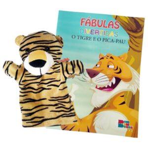 Livro com Fantoche Fábulas Divertidas – O Tigre e o Pica – Pau